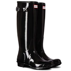 Glossy Black Hunter Boots
